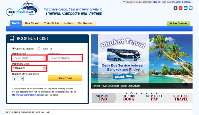 バンコクの鉄道乗車券をオンライン決済で事前手配する