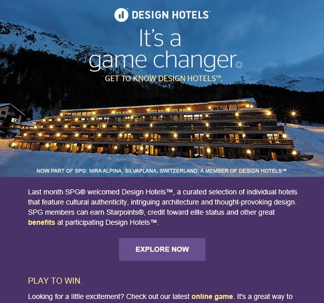 SPG Design Hotelsの販促キャンペーン